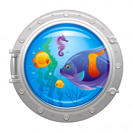 Blue porthole with colorful underwater life, fishes
