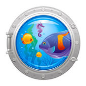 Blue porthole with colorful underwater life fishes