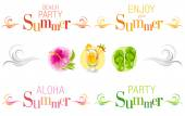Summer bunners with text swirls and colorful icons
