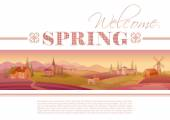 Idyllic farming landscape flayer design with text logo Welcome Spring and fields background in pink color Villa houses chirch barn mill horses and country roads Four seasons calendar collection
