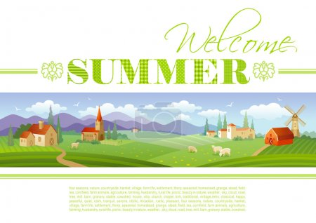 Illustration for Idyllic farming landscape flayer design with text logo Welcome Summer and fields background in green. Villa houses, chirch, barn, mill, ships and country roads. Four seasons year calendar collection. - Royalty Free Image