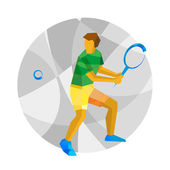 Tennis player with abstract patterns Flat athlete icon Sport Infographic - Big Tennis vector clip art