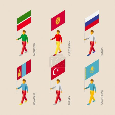 3d people with flags of Russia, Kazakhstan, Kyrgyzstan, Turkey, Tatarstan, Mongolia