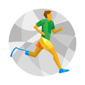 Physically disabled runner with abstract patterns Flat sport icon