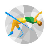 Physically disabled jumping athlete Flat sport icon