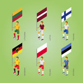 Set of isometric football players with flags Europe soccer infographics icons 3D standard bearers of Germany Latvia Estonia Lithuania Finland Poland