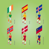 Set of football players with flags Europe soccer isometric icons 3D standard bearers infographic - Denmark Liechtenstein Spain Norway Ireland Iceland