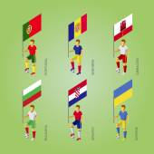 Football players with flag: Portugal Andorra Gibraltar Croatia Bulgaria Ukraine