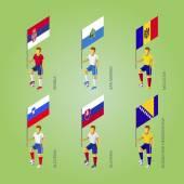 Football players with flags: Slovakia Slovenia Serbia San Marino Moldova Bosnia and Herzegovina