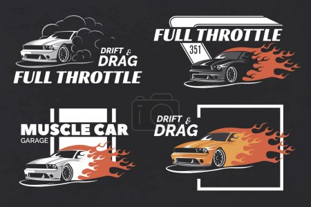 Set of muscle car logo, badges and emblems isolated.