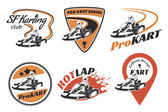 Set of kart racing emblems logo and icons