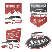 Set of suv car labels emblems badges or logos isolated on white background Off-road suv adventure emblems car club design elements Isolated modern suv front and side view