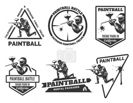 Set of paintball logos, emblems and icons.