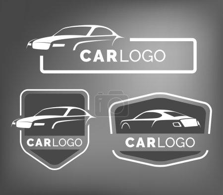 Illustration pour Ensemble d'emblèmes de voitures modernes, des insignes et des icônes. Modèle de conception de logo de silhouette de voiture de sport moderne pour le service de voiture, le service de pneus et le lavage de voiture . - image libre de droit