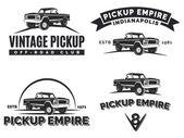Set of suv pickup car vector emblems labels and logos Offroad extreme pickup design elements 4x4 vehicle illustration