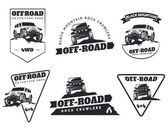 Set of classic off-road suv car emblems badges and icons