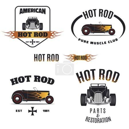 Retro hot rod logo isolated on white background