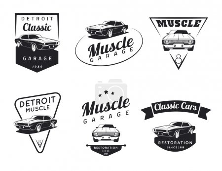 Classic muscle car emblems, badges and icons. Car logo.