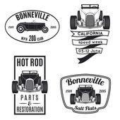 Vintage hot rod logo isolated on white background