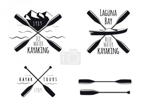 Set of kayak emblems, badges and icons
