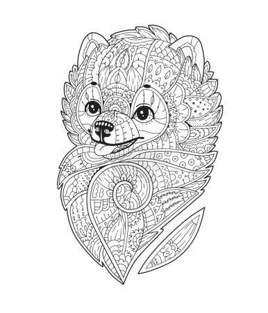 Zentangle stylized Dog in vector. Pomeranian spitz.