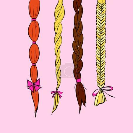 Illustration pour Dessin animé tresses de cheveux fine ligne art illustration ensemble de différentes tresses de cheveux blond brun rousse avec des arcs isolés sur fond rose vecteur eps 10 - image libre de droit