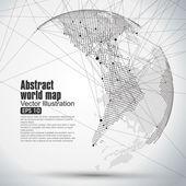 """Постер, картина, фотообои """"Трехмерная абстрактная планета, карта мира Точек, состоящая из, представляющих глобальную,"""""""