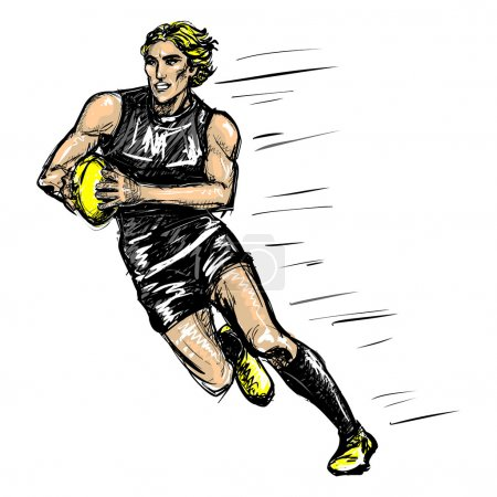 Running australian rules football player (vector)