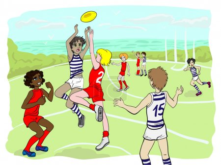 Kids playing aussie rules footy (vector)