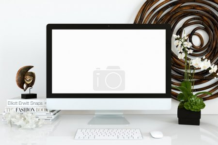 Photo for Template device for mock-up. White screen device for the layout.   Created for web designers, to preview their designs, websites in a professional and photo realistic way. - Royalty Free Image