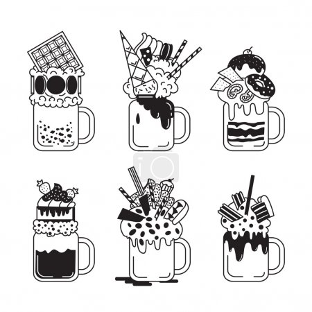 Illustration pour Ensemble de milkshakes géants de style noir et blanc. Monstershakes dans des pots à cocktails. Illustration vectorielle isolée sur fond blanc . - image libre de droit