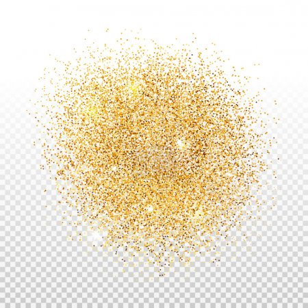 Gold dust on transparent background. Gold glitter ...