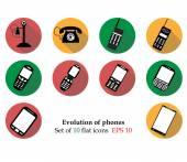 Evolution of phones Phones set techonology Phones set template Phones set progress Phones set icon Phones set smartphone Phones set flat Phones set vector Phones set object Phones set art