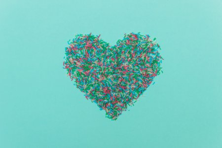 Colorful sprinklers in heart shape