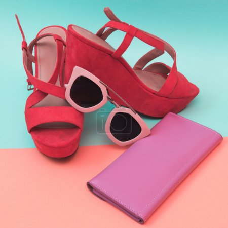shoes with sunglasses and  purse