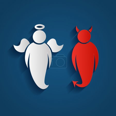 Illustration for Paper silhouette of an white  angel and a  red demon  on a blue background - Royalty Free Image