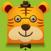 Vector image of a hipster cute face of big cat square style wea
