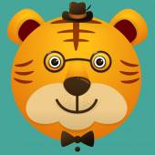 Vector image of a hipster cute face of big cat
