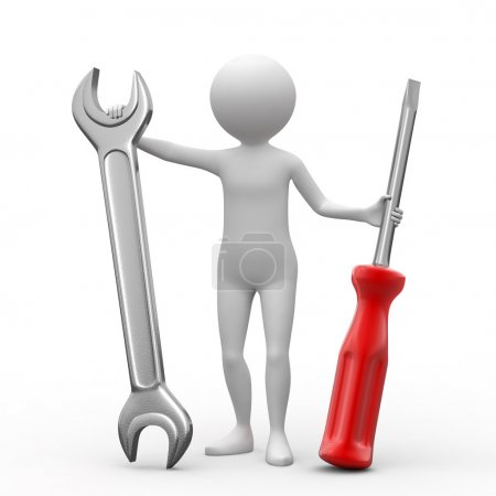 Photo for 3D person, spanner and screwdriver on white background. - Royalty Free Image