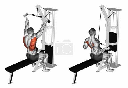 Foto de Reverse grip lat pulldown. Ejercicio para los músculos objetivo de musculación están marcados en rojo. Ilustración 3D - Imagen libre de derechos