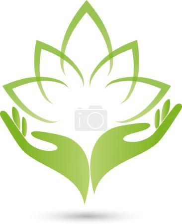 Illustration for Logo, Hand, Blatt, Heilpraktiker - Royalty Free Image