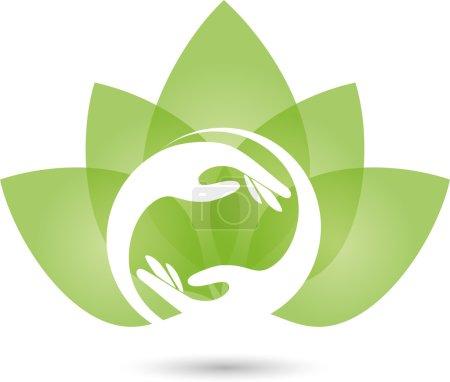 Logo, Hand, Physiotherapie, Heilpraktiker, Blatt