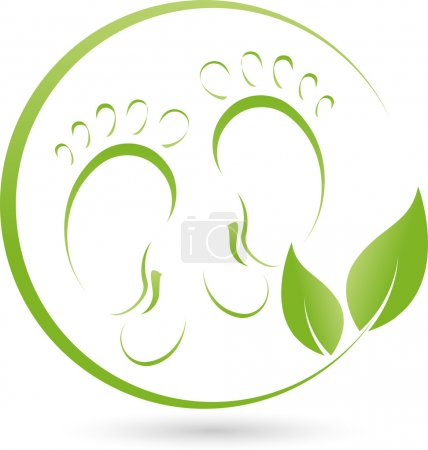 Two feet and leaves, logo, pedicure, Gesund