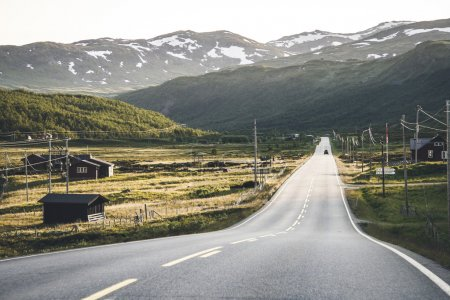 Norwegian highlands with road