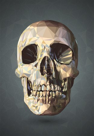 Illustration for 3D Skull low poly vector with graphic wireframe line on gray background - Royalty Free Image