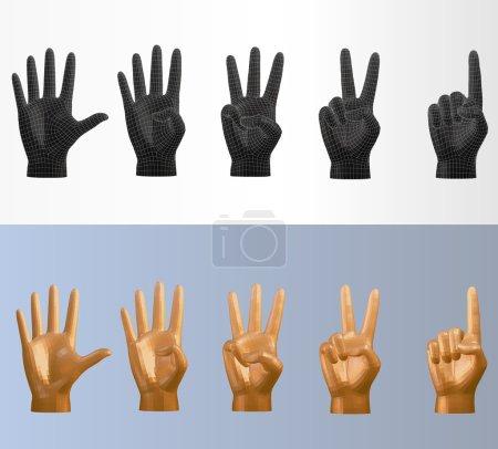 Illustration pour Pose de comptage polygonale vectorielle 3D réglée dans différents styles que vous pouvez retourner pour la main gauche ou droite - image libre de droit