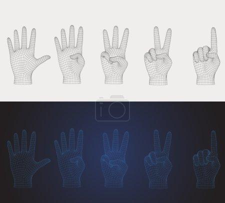 Illustration pour Pose de la main de comptage vectoriel 3D réglée dans différents styles que vous pouvez retourner pour la main gauche ou droite - image libre de droit