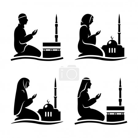Traditionally clothed muslim man and woman making ...