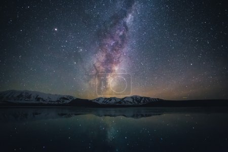 Photo for Milky way galaxy with stars over the snowy mountains near the lake. - Royalty Free Image