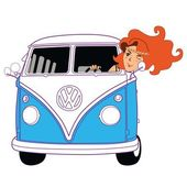Hippie Girl Riding Vintage Blue Van Cartoon